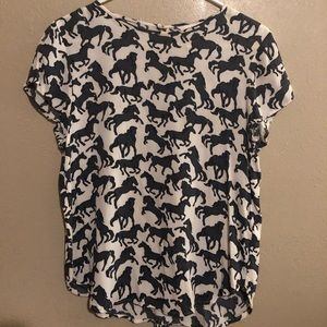H&M Short Sleeve Blouse with Horse Design